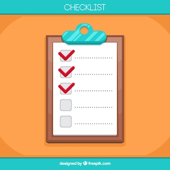Colored background with clipboard and checklist