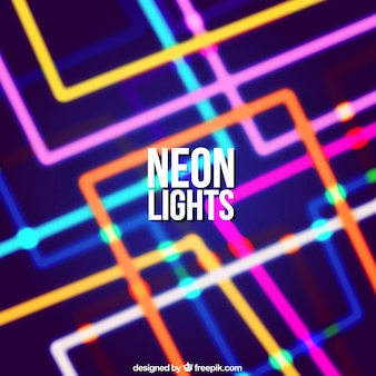 Colored background with geometric neon lights