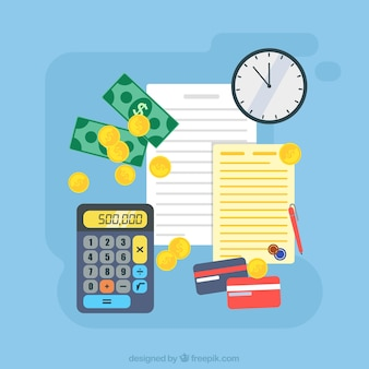 Colored background with money and documents