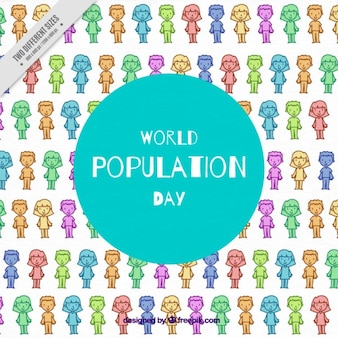 Colored background with people for population day