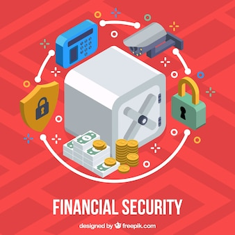 Colored background with security items in isometric design