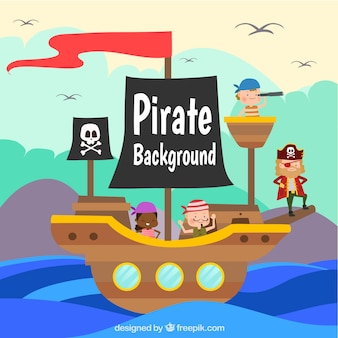 Colored background with ship and pirates