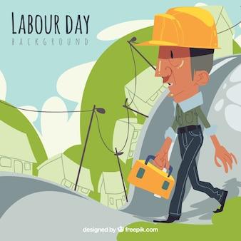 手描きのスタイルで労働者と色の背景