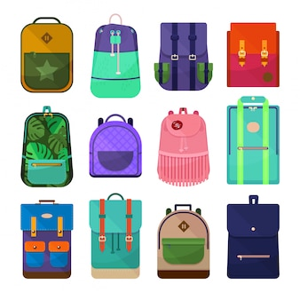 Colored backpacks clip art isolated on white background.