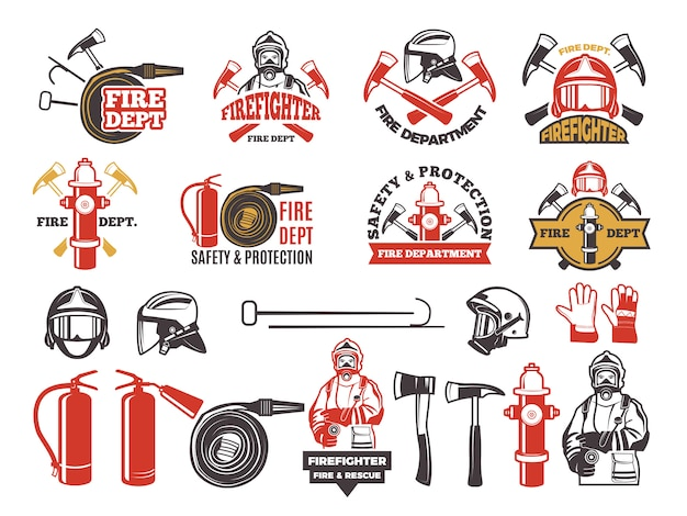 Colored badges for firefighter department.