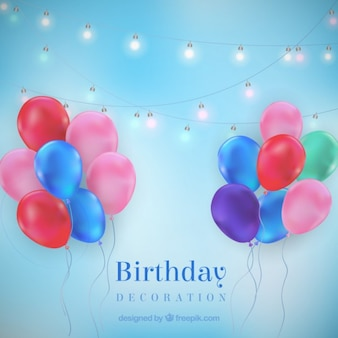 Colored balloons and lightbulbs decoration for birthday