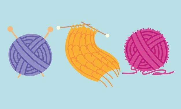 Colored balls wool