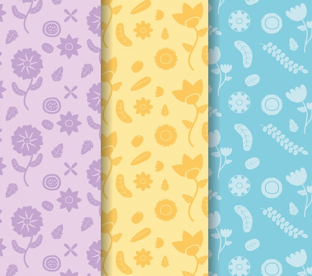 Colored banners flowers decoration colored flower blue, yellow, purple illustration