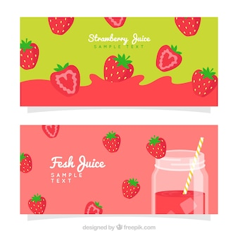 Colored banners of strawberry juice