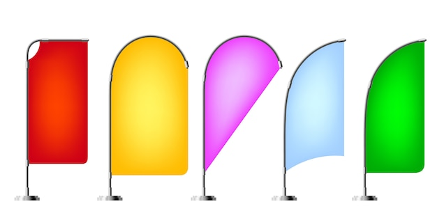 Colored beach flags