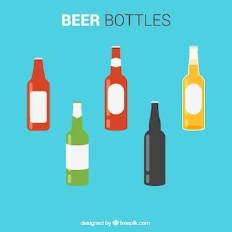 Цветные пивные бутылки Бесплатные векторы