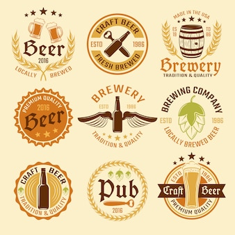 Colored beer emblem set