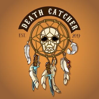Colored biker skull death catcher
