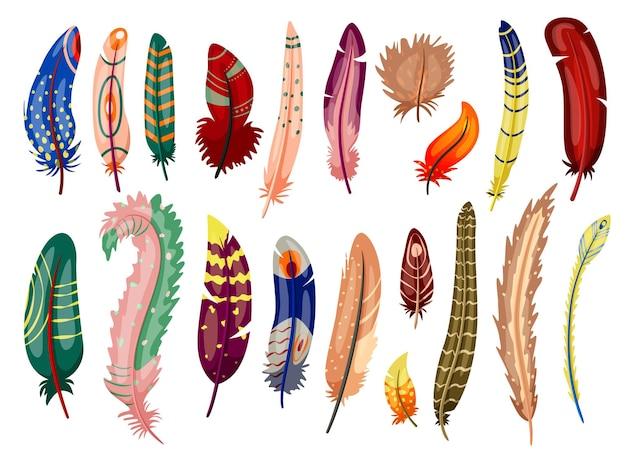 ペンやドリームキャッチャーのデザインを書くための色付きの鳥の羽。バーディー羽からの色とりどりのエレガンスふわふわ羽ペン