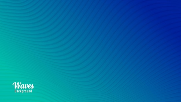 컬러 블루와 그린 추상 파도 배경 디자인