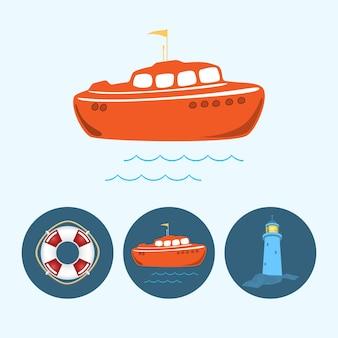Цветная лодка. набор с 3 круглыми красочными значками, оранжевая лодка с флагом и волнами, спасательный круг, маяк, векторная иллюстрация