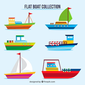 Colored boats in flat design