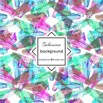 Colored boho background with abstract shapes