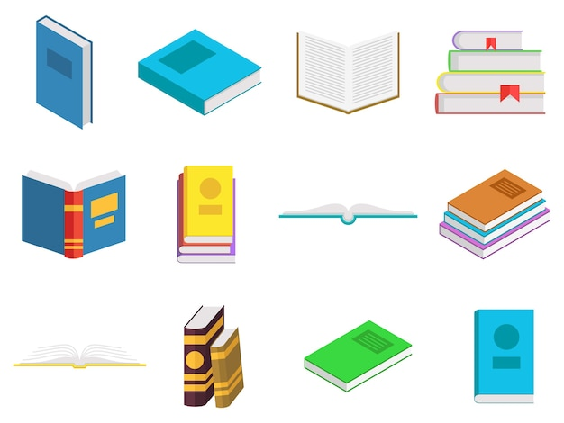 Colored books icons set. books in a stack, open, in a group, closed. reading, learn and education