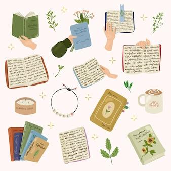 컬러 책, 잎, 양초, 커피 및 책을 보유하는 손. 손으로 그린 그림을 읽고.