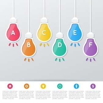 Colored bulbs with letters