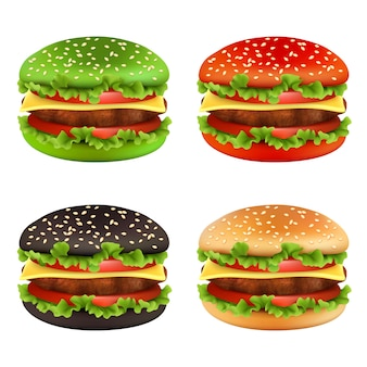 Colored burgers, fast food black cheeseburger bread of different colors and ingredients meal beef tomato fries delicious food vector