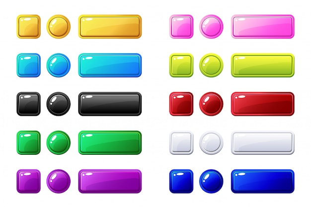 Colored buttons, big set for game or web design element