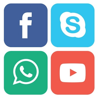 Colored buttons for social networks Free Vector