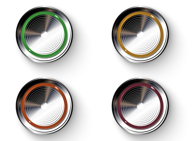 Colored buttons with metallic borders.