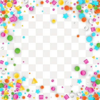 Colored carnaval confetti background made of star, square, triangle, circle geometric shapes.