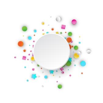 별, 사각형, 삼각형, 원 컬러 카니발 색종이 폭발 배경. 추상적 인 기하학적 모양