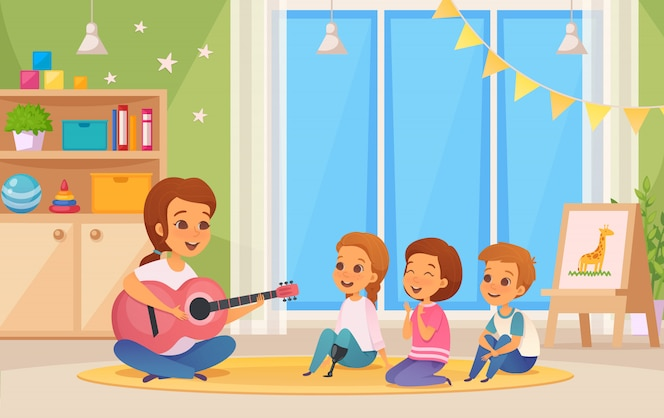 Colored and cartoon inclusion inclusive education composition with teacher who plays guitar illustration
