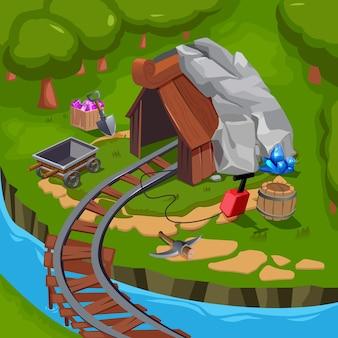 Цветной мультяшный игровой пейзаж с горной композицией с шахтным и шахтёрским оборудованием