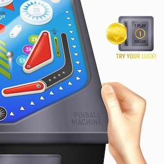 Colored cartoon pinball desk composition with hand of boy or girl on the desk and instruction try your lucky
