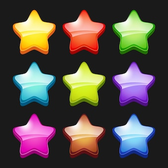 Colored cartoon stars. shiny games crystal icons status symbols of gui  items for mobile gaming
