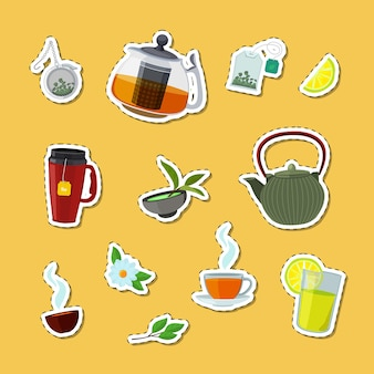 Colored cartoon tea kettles and cups stickers of set illustration