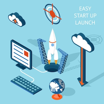 Colored cartooned easy start-up launch infographic emphasizing rocket and technology.