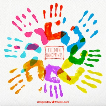 Colored children handprints