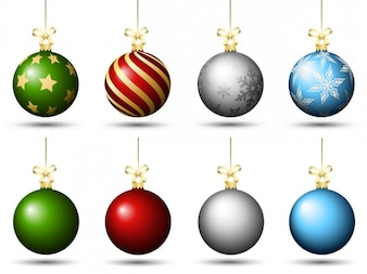 Colored christmas baubles pack