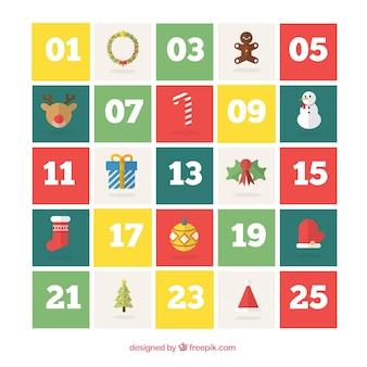 Colored christmas calendar in flat design