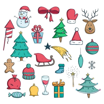 Colored christmas icons with doodle style on white background