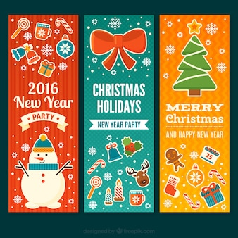 Colored christmas and new year banners Premium Vector