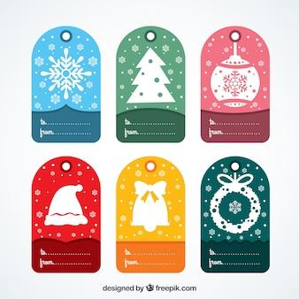 Цветные рождественские метки