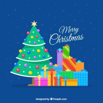 Цветные рождественская елка и подарки