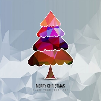 Colored christmas tree background in polygonal style