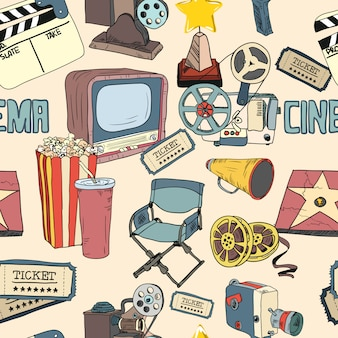 Colored cinema seamless pattern wallpaper