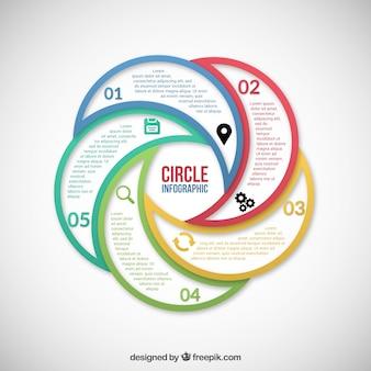 色付きの円インフォグラフィック