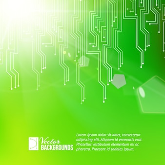 Colored circuit abstraction background with sample text template