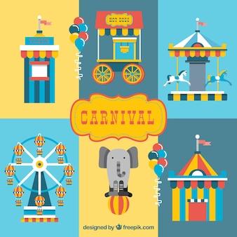 Цветные элементы цирка в плоской конструкции