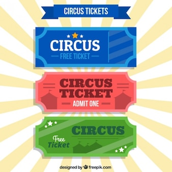 Colored circus tickets in retro style